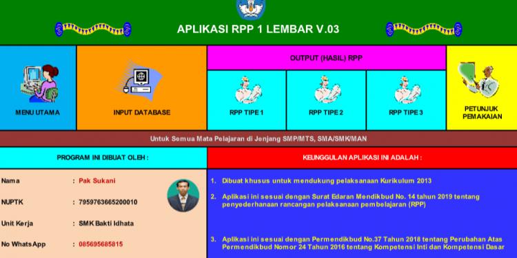 Aplikasi RPP 1 Lembar Terbaru Semua Jenjang mulai dari SD SMP MI MTs SMA SMK MA