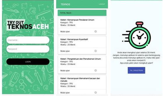 Aplikasi Try Out Teknos Aceh dan Cara Menggunakannya